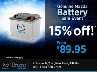 Genuine Mazda Battery Sales Event!