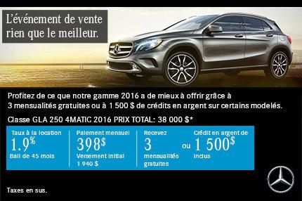 Mercedes-Benz GLA 250 à compter de 398$ par mois