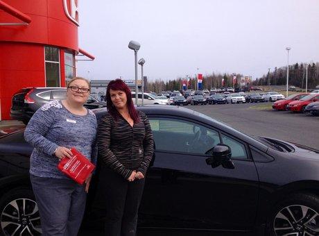 Tammy Aubie gave me a super service at Bathurst Honda! Nancy Guérette