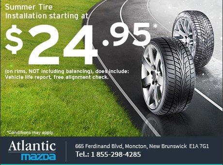 Summer Tire Installation from $24.95