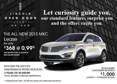Lease the all-new 2015 Lincoln MKC for only $368!