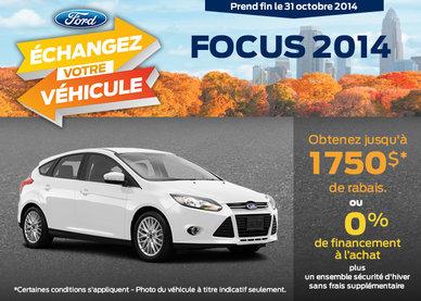 Ford Focus 2014 avc un rabais de 1750$