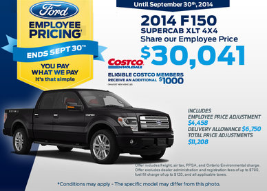 The 2014 Ford F-150 SuperCab XLT 4X4 is now $30,041