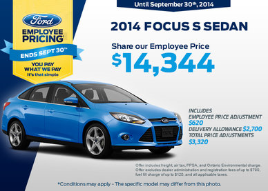 2014 Ford Focus S sedan - Get it for only $14,344!