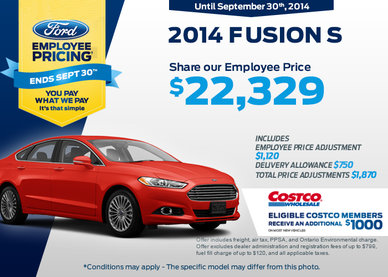 The 2014 Ford Fusion S is now $22,329