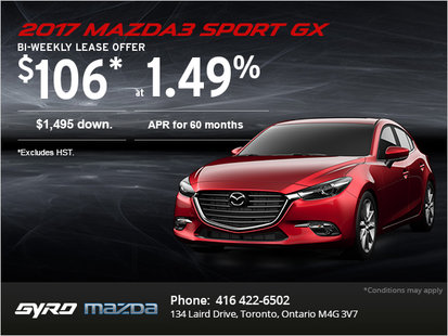 Drive Home the 2017 Mazda3 Sport GX Today!