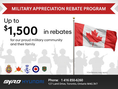 Gyro Hyundai's Military Appreciation Rebate Program