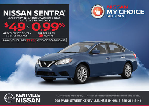 Lease the 2017 Nissan Sentra Today!