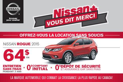Nissan Rogue 2015 à seulement 64$ par semaine
