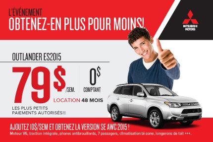 Mitsubishi Outlander ES 2015 à compter de 79$ par semaine
