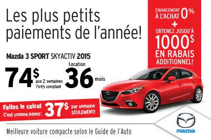 Le Mazda3 Sport SKYACTIV 2015 en location à 74$ aux 2 semaines