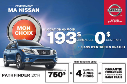 Nissan Pathfinder en location à compter de 193$ bimensuel