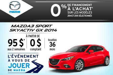 Location de la Mazda3 Sport 2014 à 95$ aux 2 semaines