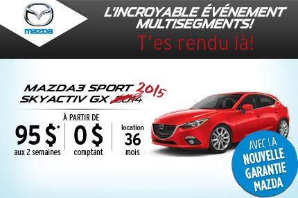 Location de la Mazda3 Sport 2015 à 95$ aux 2 semaines