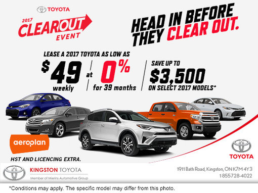 Kingston Toyota's 2017 Clearout Event!