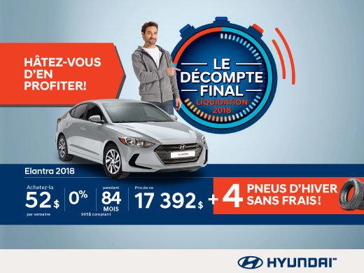 Ne manquez pas le DÉCOMPTE FINAL sur l'Elantra 2018 chez Hyundai Magog!