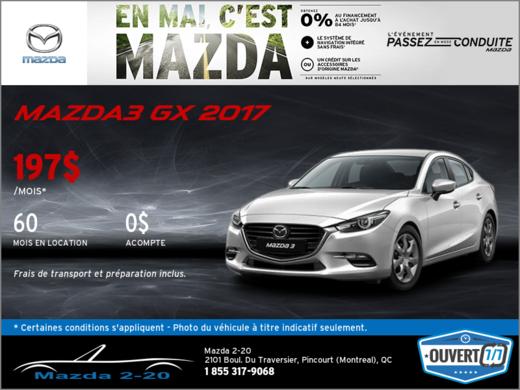 Obtenez la Mazda3 GX 2017 aujourd'hui!