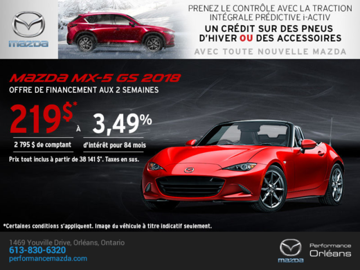 La Mazda MX-5 2018 en rabais! chez Performance Mazda à Ottawa