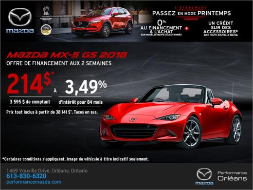 Procurez-vous la Mazda MX-5 2018 aujourd'hui! chez Performance Mazda à Ottawa