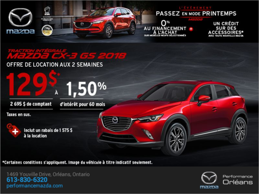 Procurez-vous le Mazda CX-3 2018 aujourd'hui! chez Performance Mazda à Ottawa