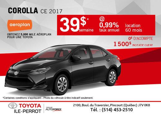 La Corolla CE 2017 en rabais
