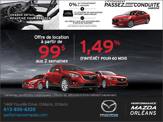 L'événement passez en mode conduite chez Mazda chez Performance Mazda à Ottawa