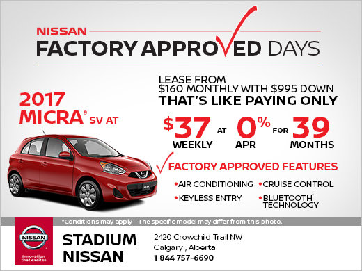 Save on the 2017 Nissan Micra SV Today!
