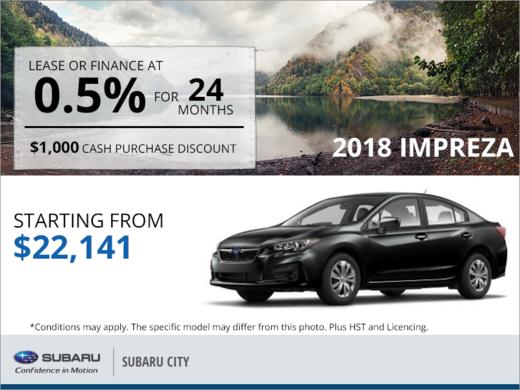 Get the 2018 Subaru Impreza 4-Door Today!