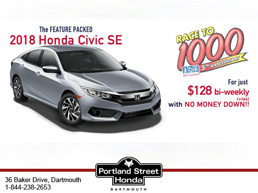 The FEATURE PACKED 2018 Honda Civic SE For just $128 bi-weekly