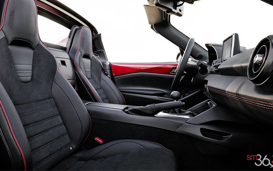Black Recaro Sport Seats with red stitching