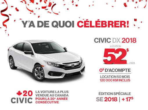Honda Civic neuf en promotion à Montréal
