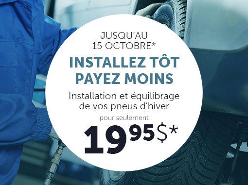 Installation de vos pneus d'hiver pour seulement 19,95$