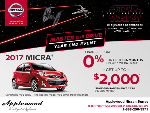 Save on a new 2017 Nissan Micra Today!