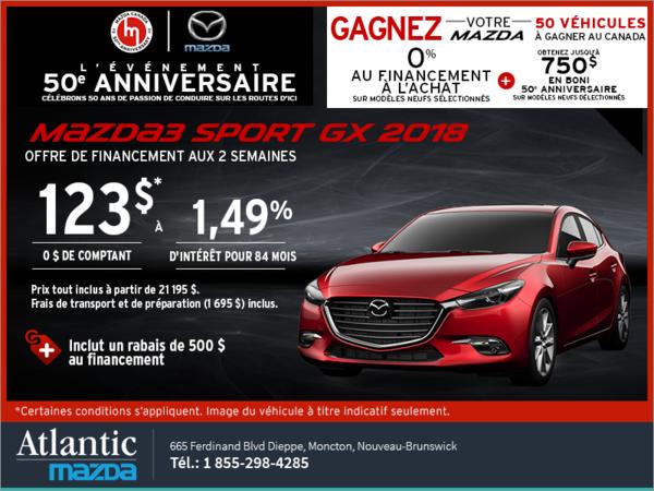 Procurez-vous une Mazda3 Sport 2018 aujourd'hui!