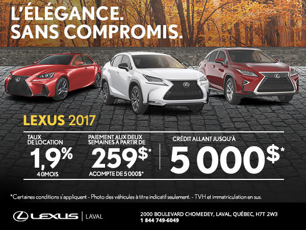 La vente mensuelle chez Lexus Laval