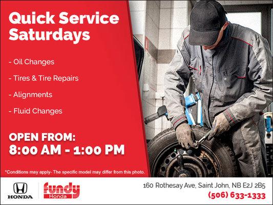 Quick Service Saturdays at Fundy Honda