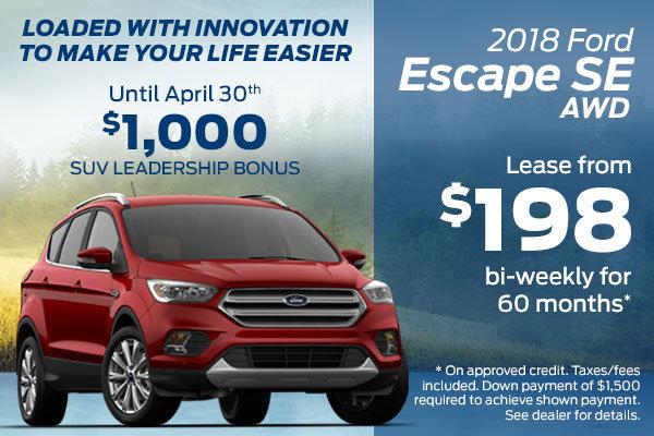 Lease the 2018 Ford Escape SE AWD