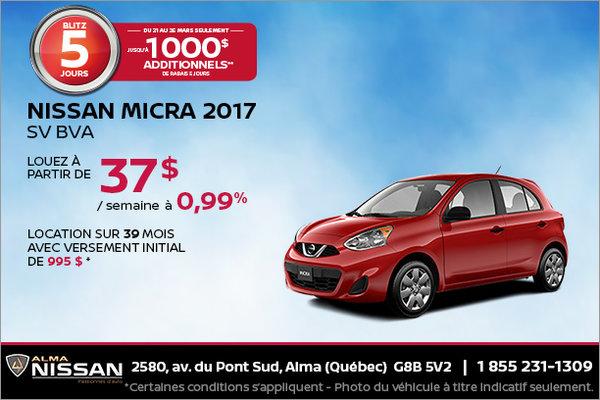 Nissan Micra 2017 en rabais | Blitz de 5 jours