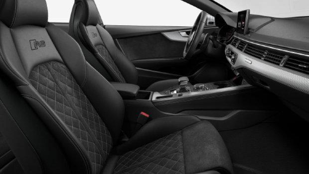Black Alcantara Leather with RS logo w/Rock Grey Diamond Stitching