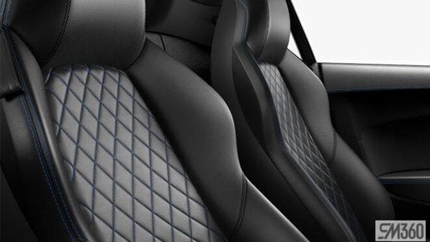 Black Nappa Leather Sport Seats/Macaw Blue Diamond Stitch