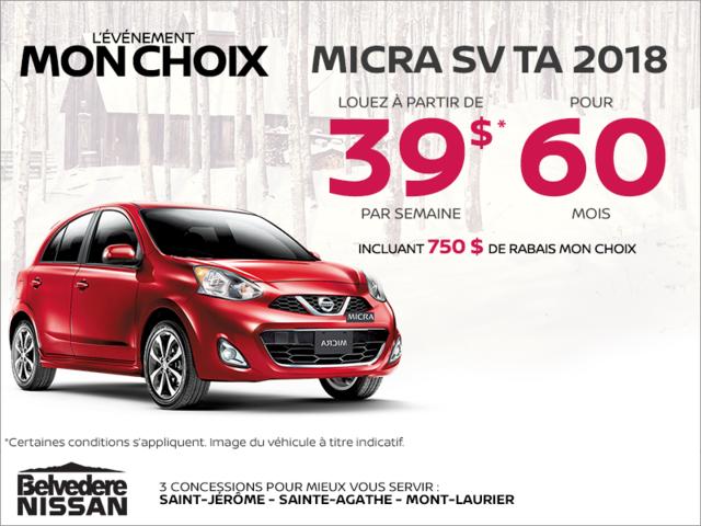 Louez la Nissan Micra 2018 dès aujourd'hui!