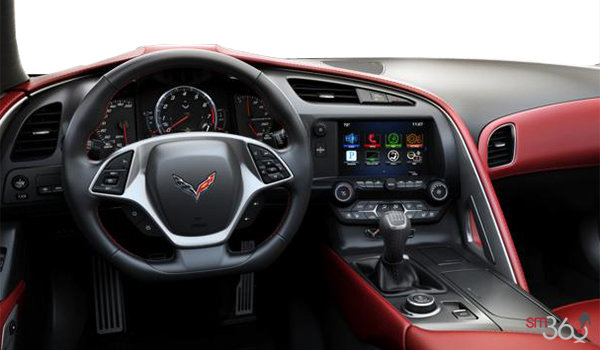 2018 Chevrolet Corvette Coupe Stingray 3LT | Photo 3 | Adrenaline Red GT buckets Leather seating surfaces with sueded microfiber inserts (706-AQ9)