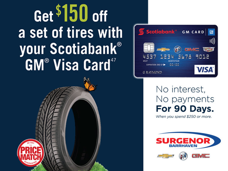 150$ off a set of tires promo