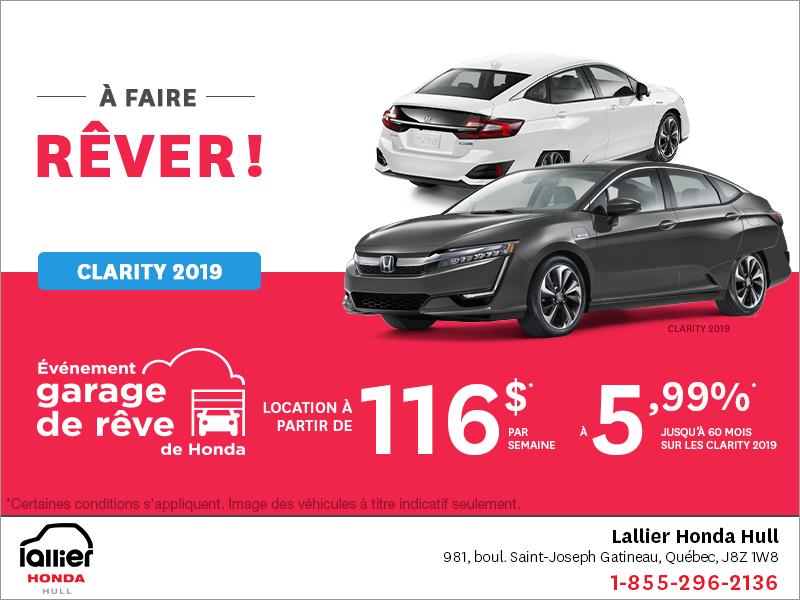 Louez la Honda Clarity 2019!